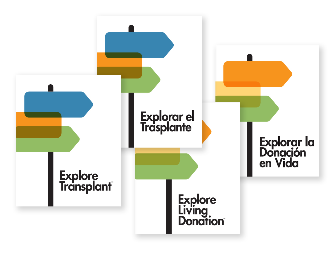 image of Explore Transplant and Explore Living Donation covers in English and Spanish