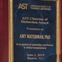Dr. Amy Waterman named the 2019 AST Clinician of Distinction