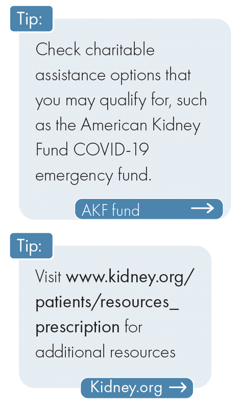 tip: check charitable assistance options and visit kidney.org/patients/resources_prescription